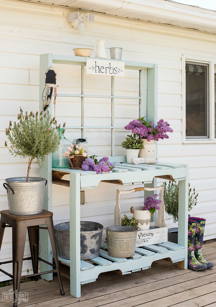 Potting Bench from Pallets and Antique Window - The DIY Mommy