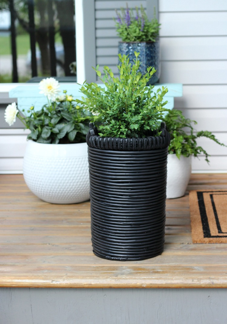 Black Basket Planter with Boxwood on Front Porch