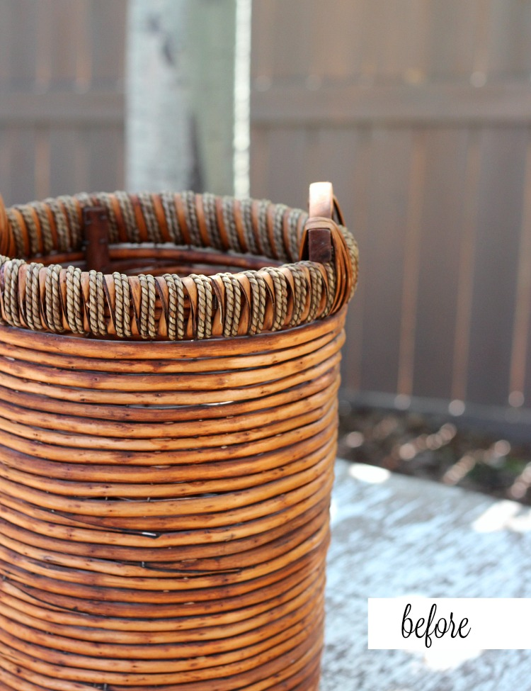 Flea Market Basket Planter - BEFORE