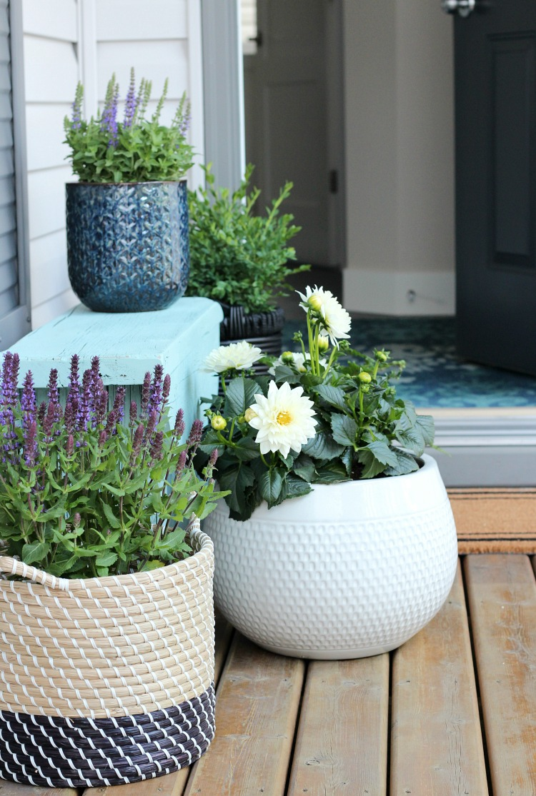 Front Porch Decorated with Aqua Bench, Potted Flowers and Basket Planters - Satori Design for Living