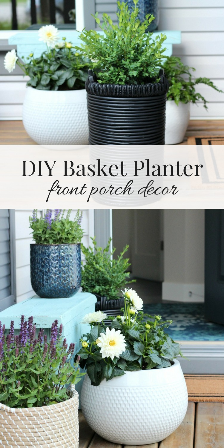 DIY Basket Planter - See how easy it was to transform a flea market find into a basket planter for our front porch using spray paint!