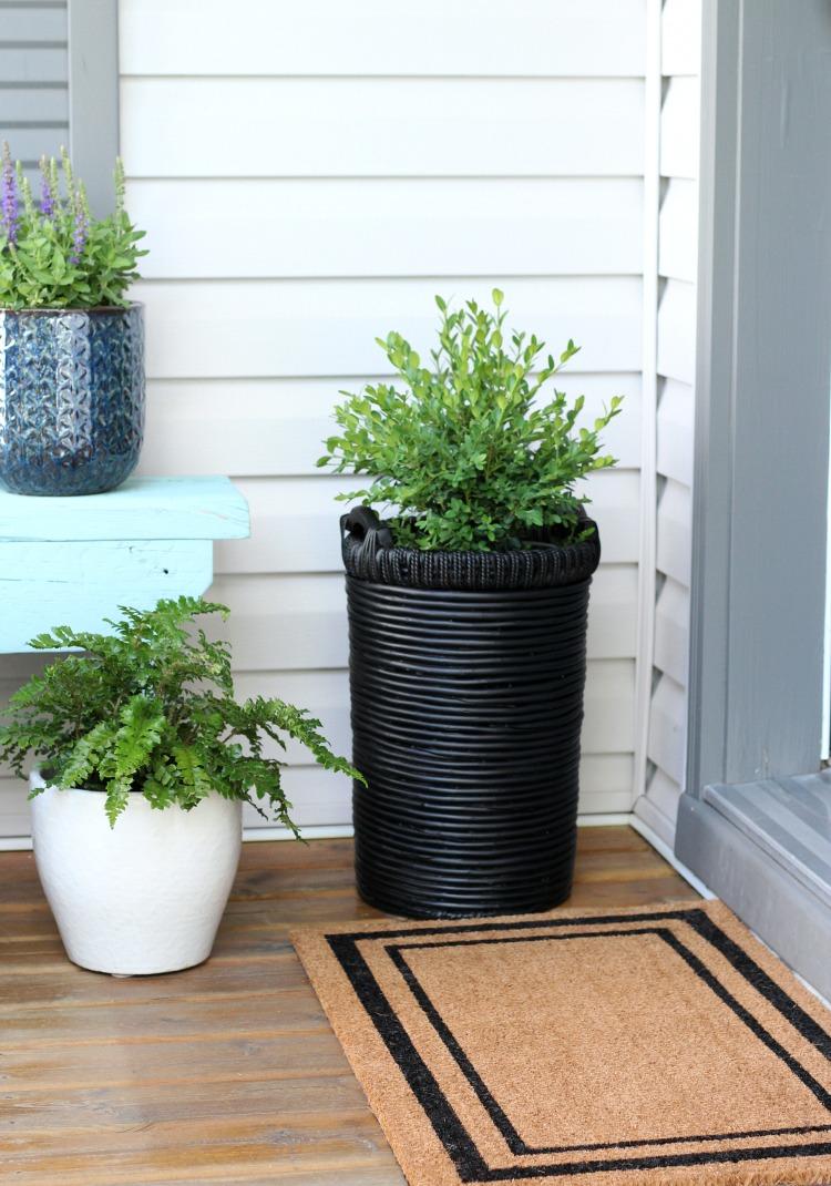 Front Porch Decor - Boxwood Basket Planter - Black Bordered Front Door Mat