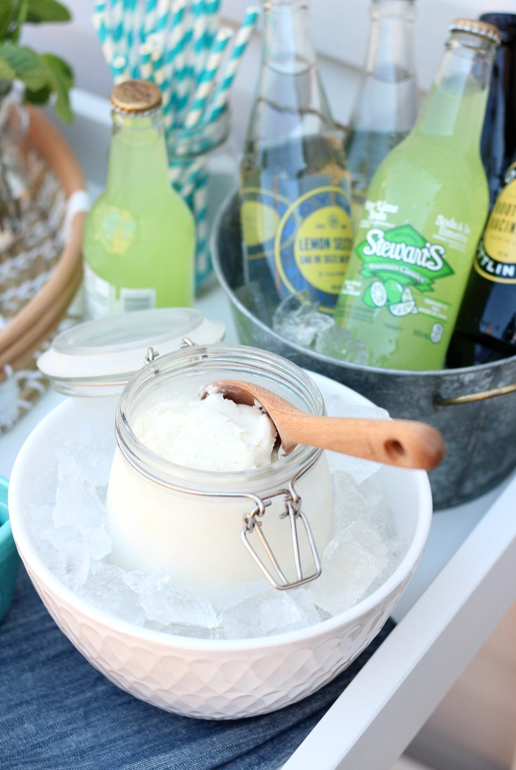 How to Set Up an Outdoor Ice Cream Float Bar - Outdoor Party Dessert Idea - Satori Design for Living