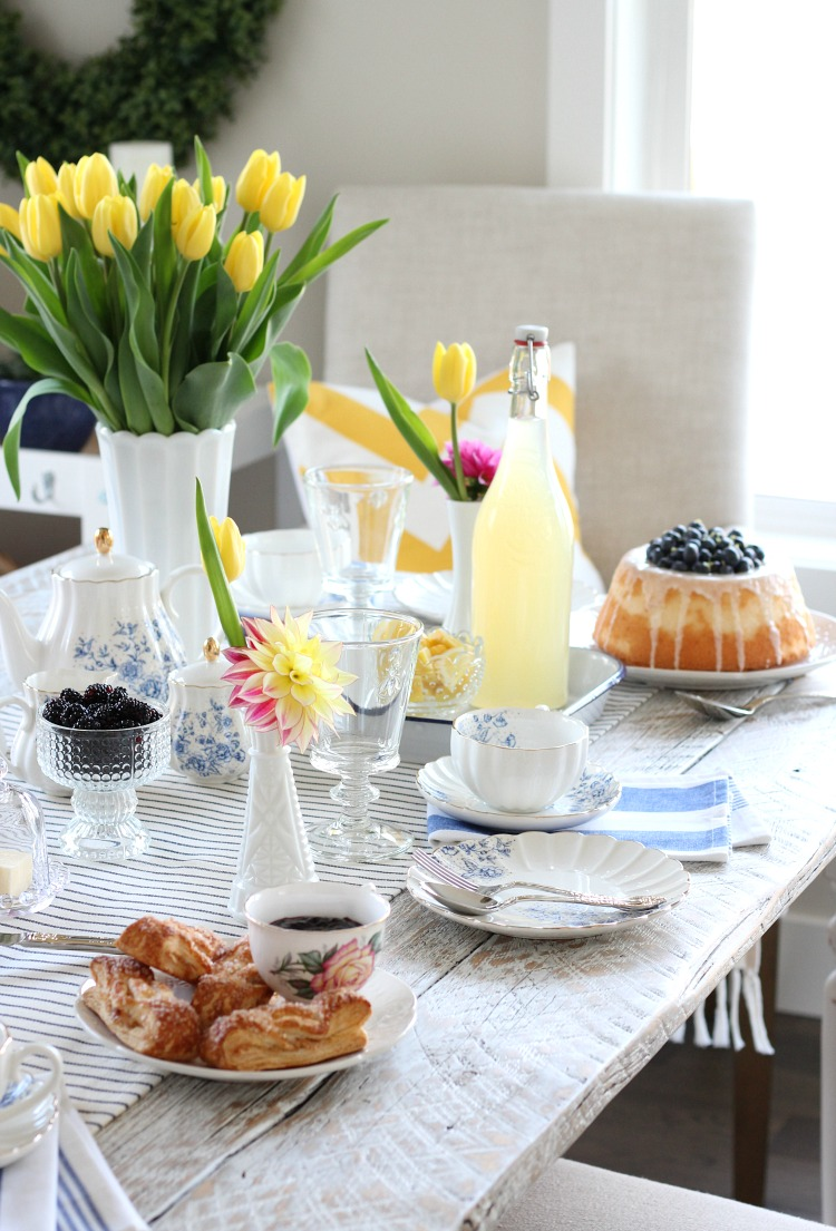 Afternoon Tea for Mother's Day with Cheery Table Decor, Tea Cups and Angel Food Cake