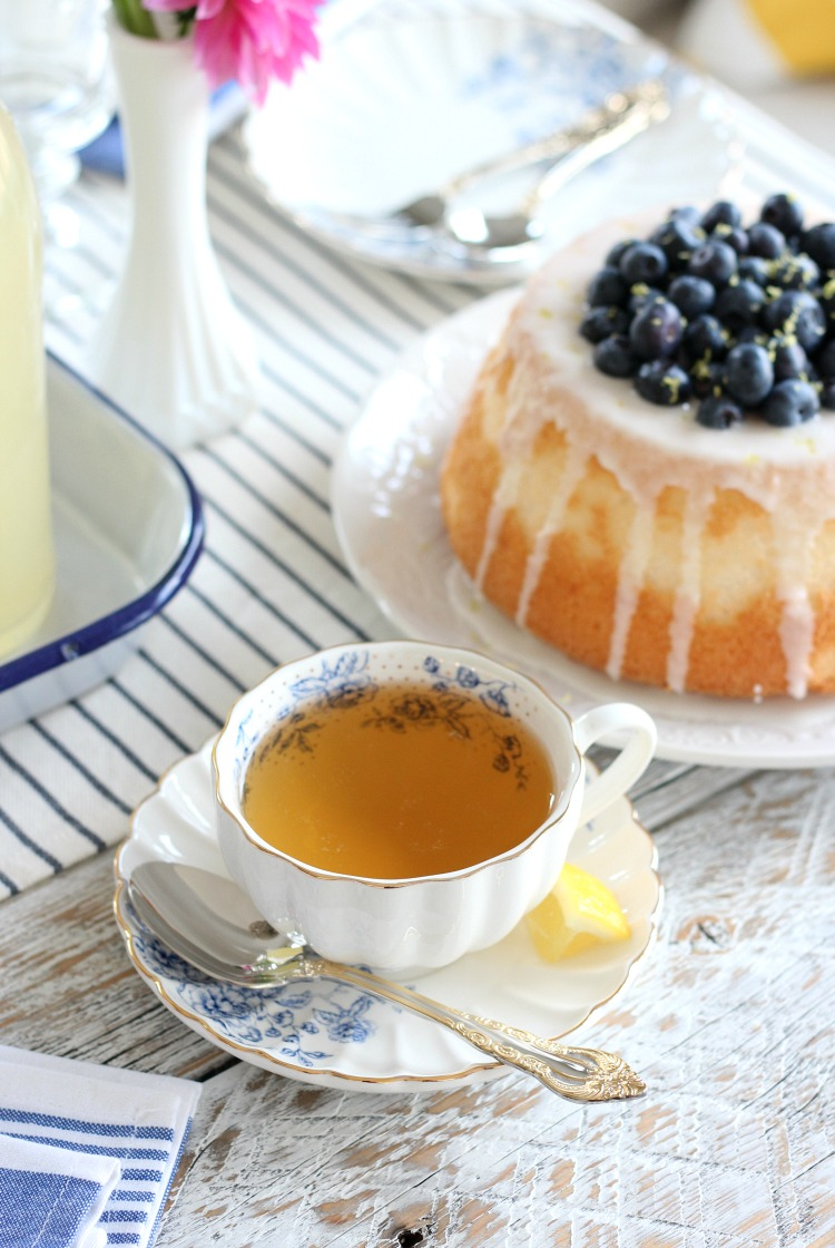 Angel Food Cake filled with Lemon Curd and Blueberries with Cup of Tea