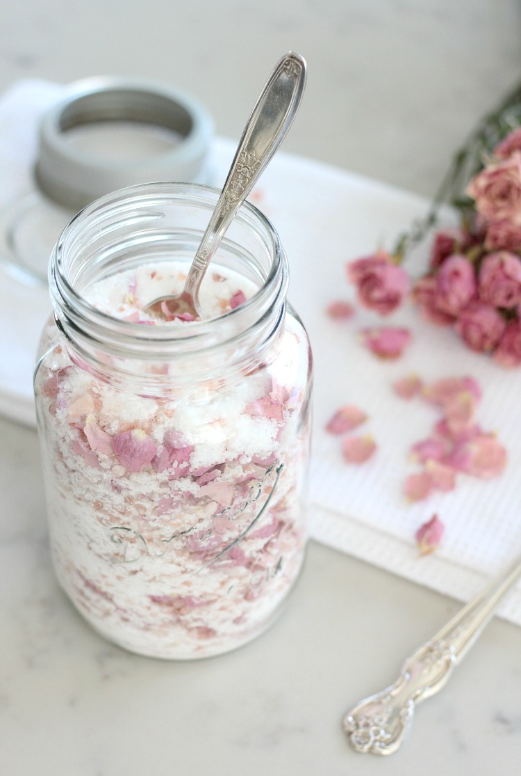 Gardener's Rose Petal Bath Soak Recipe - A luxurious way to relax and unwind after a long summer day!
