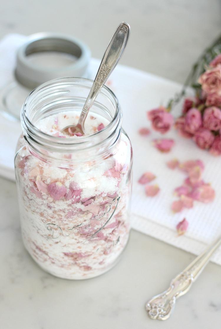 Pink Rose Petal Salt Soak in Vintage Mason Jar and Silver Spoon