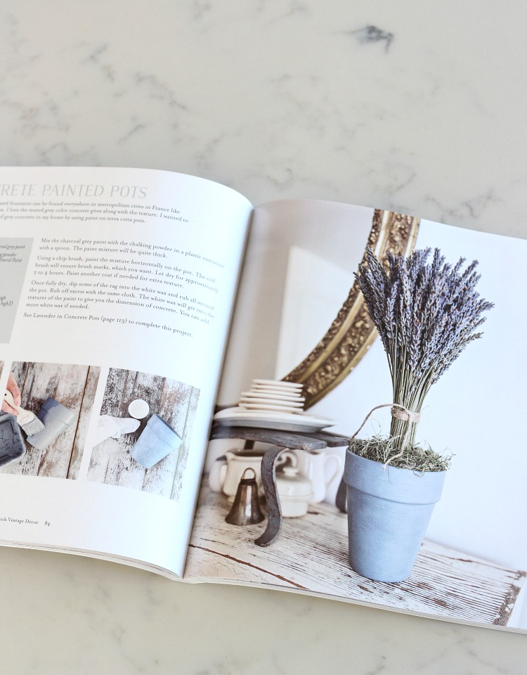 DIY Concrete Painted Pots in Vintage French Decor Book
