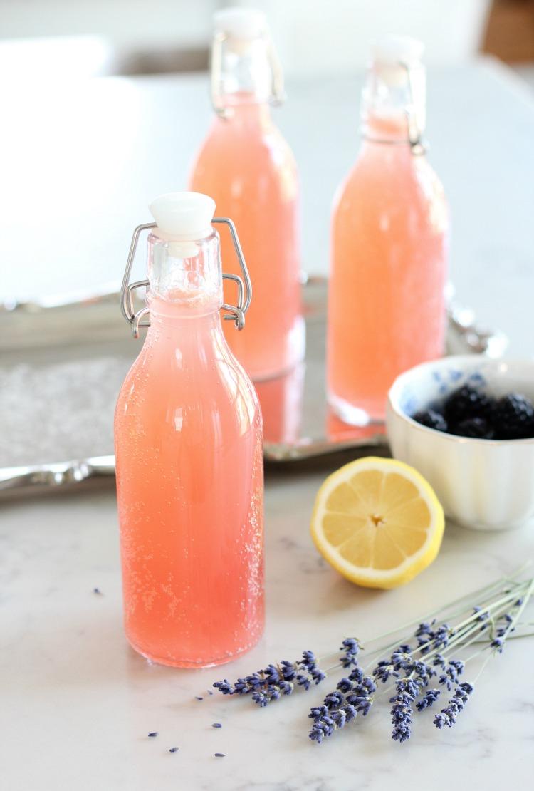 Glass Bottles Filled with Sparkling Lavender Lemonade