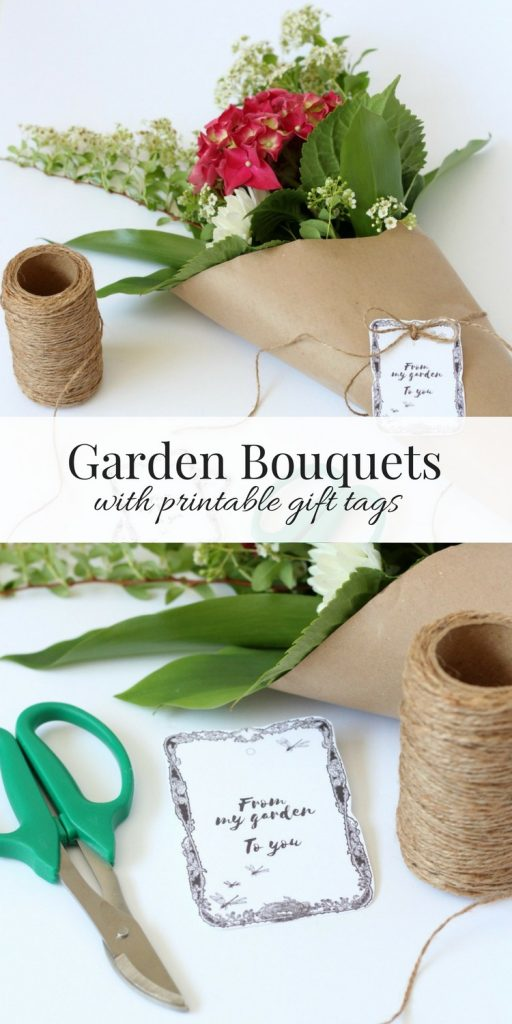 Garden Bouquet Wrapped in Kraft Paper and Finished Off with a Printable Garden Git Tag