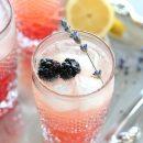 Lavender and Blackberry Sparkling Lemonade in a Vintage Glass