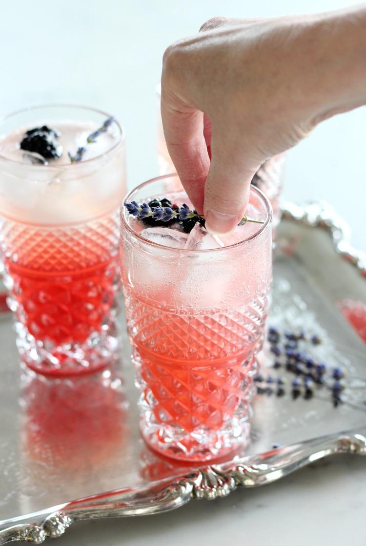 How to Make Lavender Blackberry Sparkling Lemonade with Dried Lavender Garnish