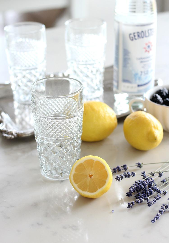How to Make Lavender Blackberry Sparkling Lemonade Served in Vintage Wexford Tumblers by Anchor Hocking