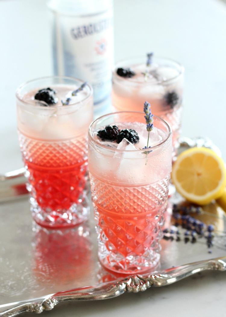 Lavender and Blackberry Sparkling Lemonade in Vintage Glass Tumblers