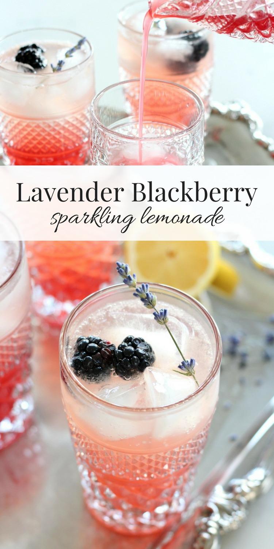 Lavender Blackberry Sparkling Lemonade Drink in Vintage Wexford Glass