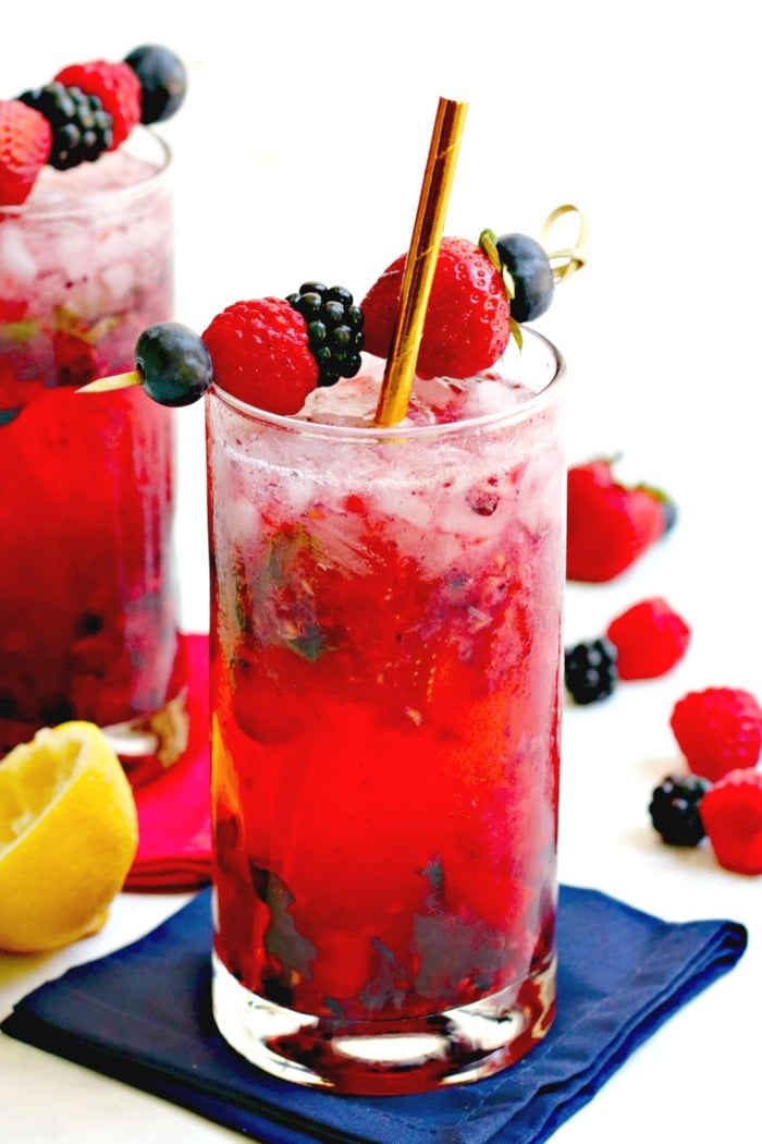Fresh Herb Summer Cocktail Recipes - Berry Vodka Cocktail with Fresh Basil by Veggies Save the Day