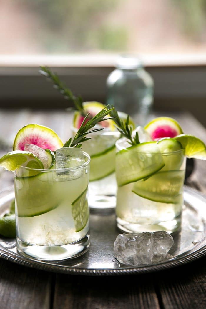 Cucumber Rosemary Gin and Tonic with Watermelon Radish Garnish by The Forked Spoon