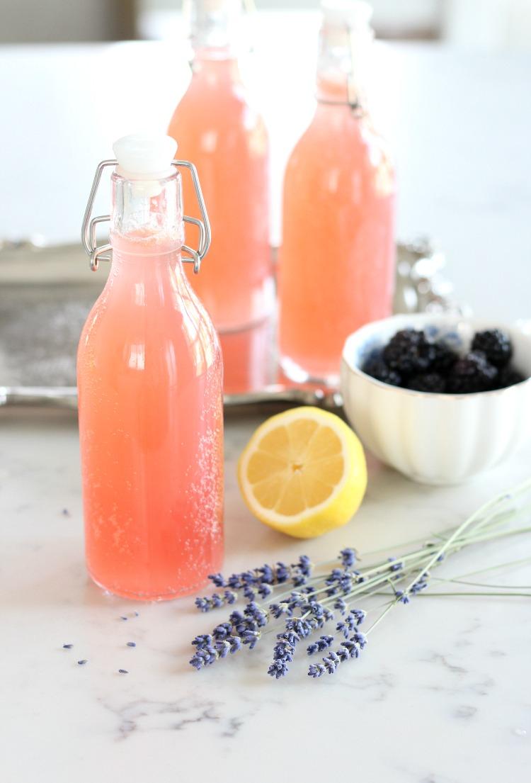 Fresh Herb Summer Cocktail Recipes - DIY Bottled Lavender and Blackberry Sparkling Lemonade by Satori Design for Living