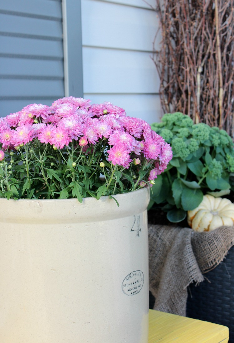 Vintage Crock Planter with Garden Mums