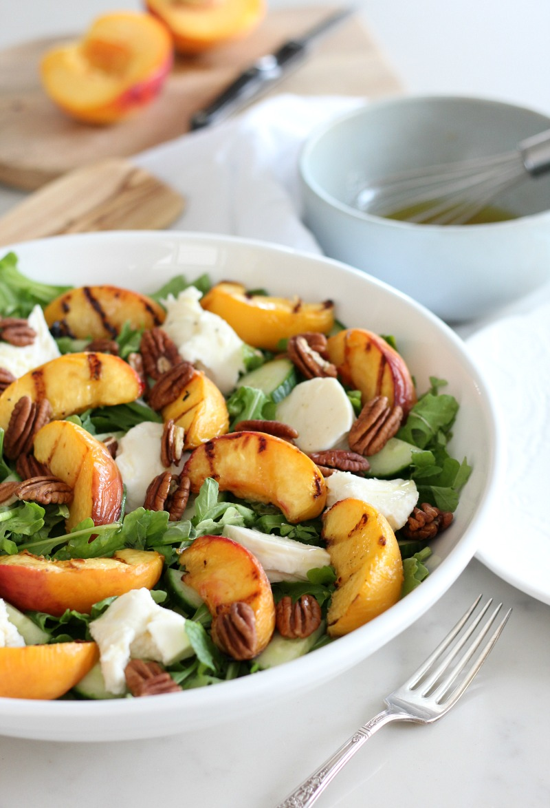 Grilled Peach Salad with Maple Vinaigrette