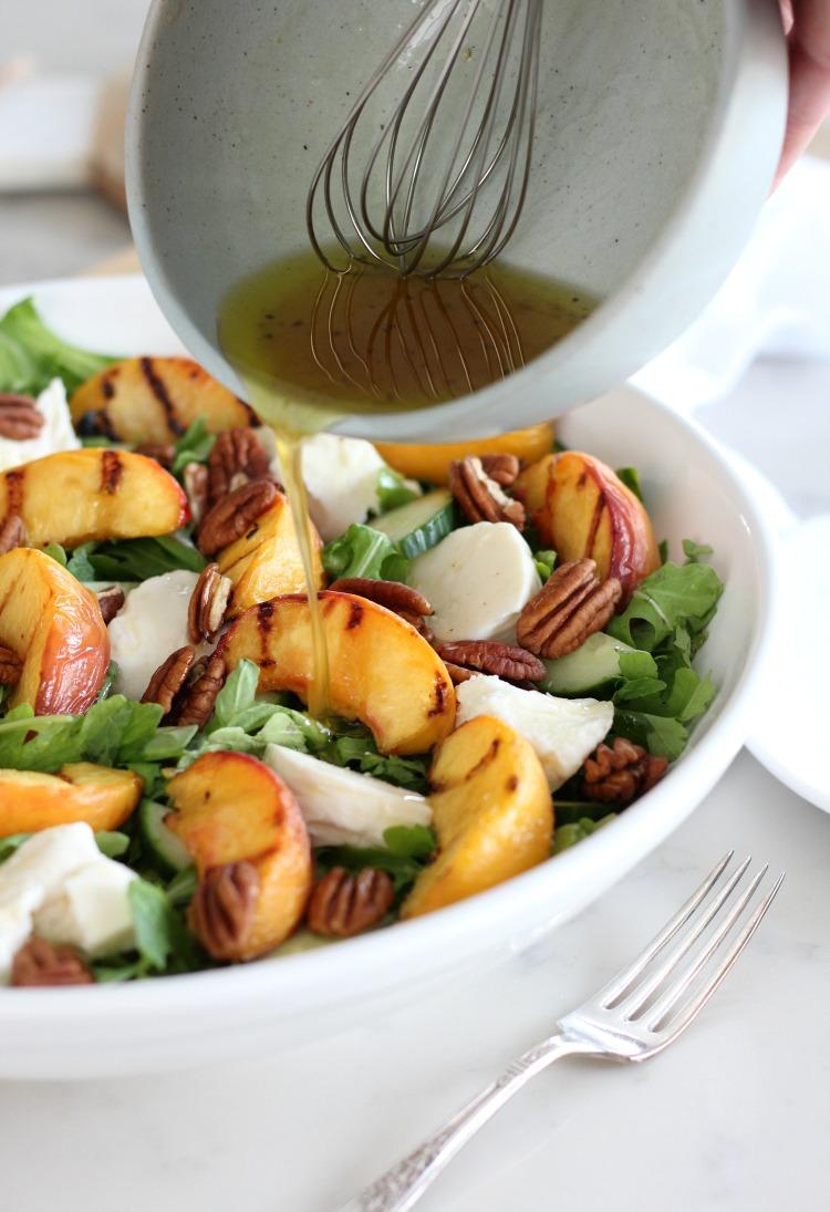 Grilled Peach Salad with Spinach, Arugula, Fresh Mozzarella and Maple Vinaigrette - Satori Design for Living