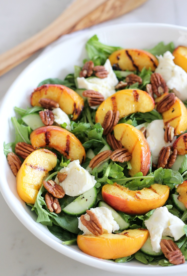 Grilled Peach Summer Salad with Spinach, Arugula, Fresh Mozzarella, Toasted Pecans and Maple Vinaigrette