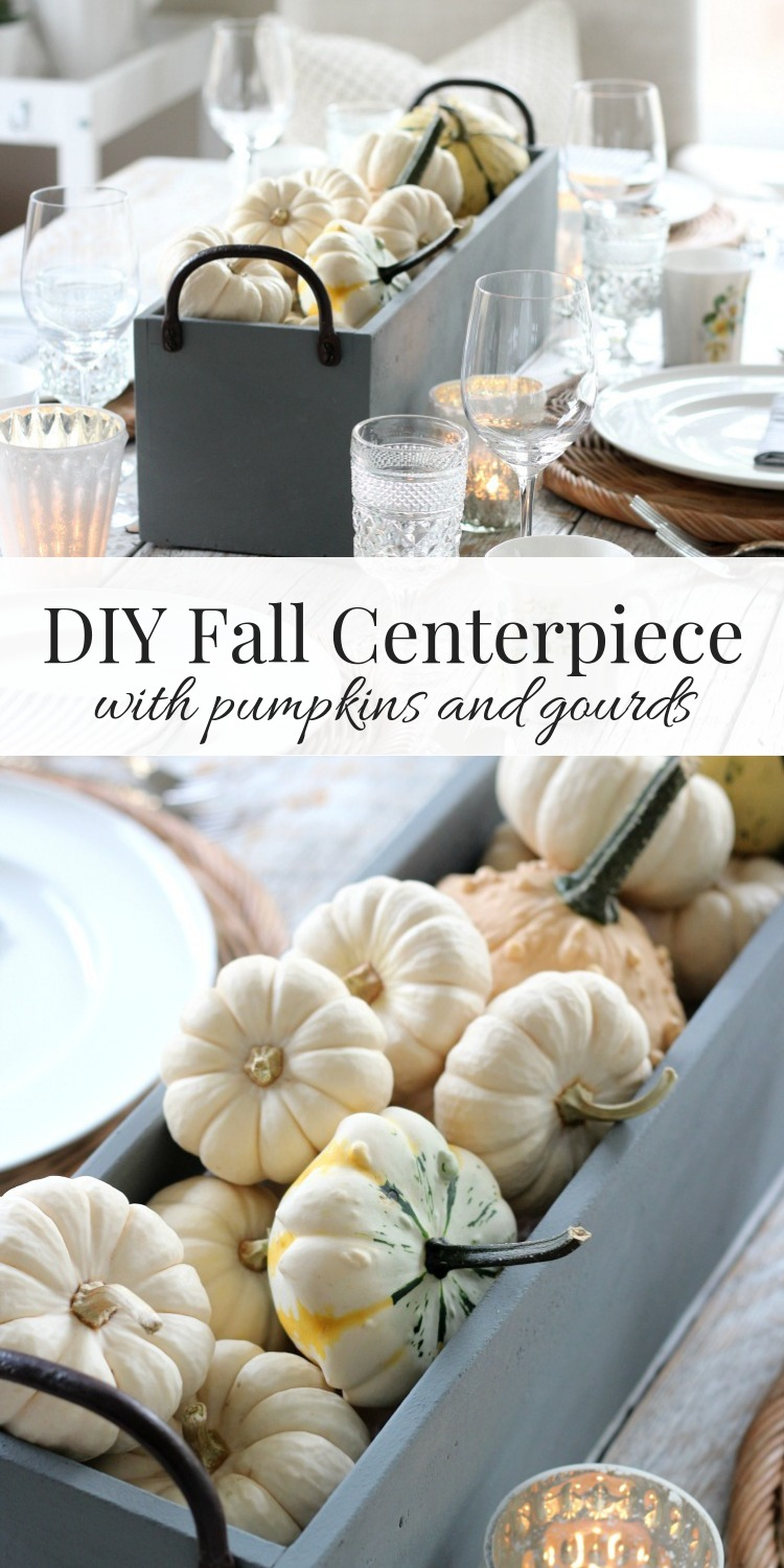 Fall Table Centerpiece with Baby Boo Pumpkins and Gourds