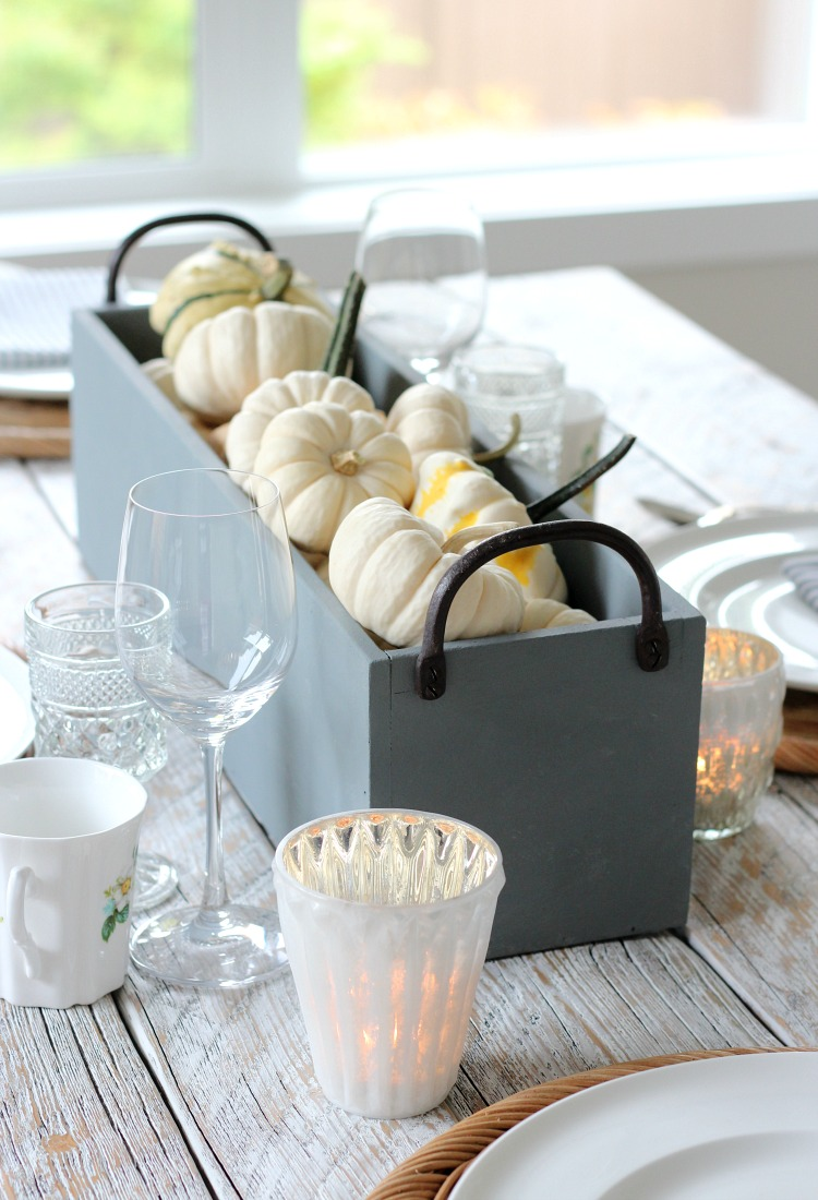 Faux Concrete Table Centerpiece with Pumpkins and Gourds