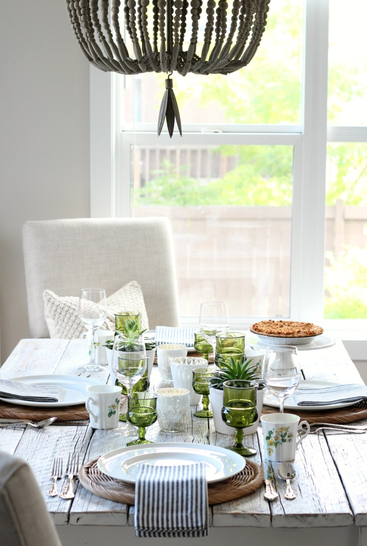 Eclectic Fall Table Setting with Vintage Green Goblets and Beaded Chandelier - Satori Design for Living
