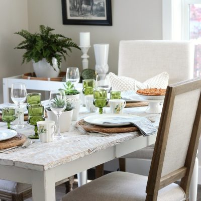 Eclectic Fall Tablescape with Vintage Green, Gold and White Decor - Satori Design for Living