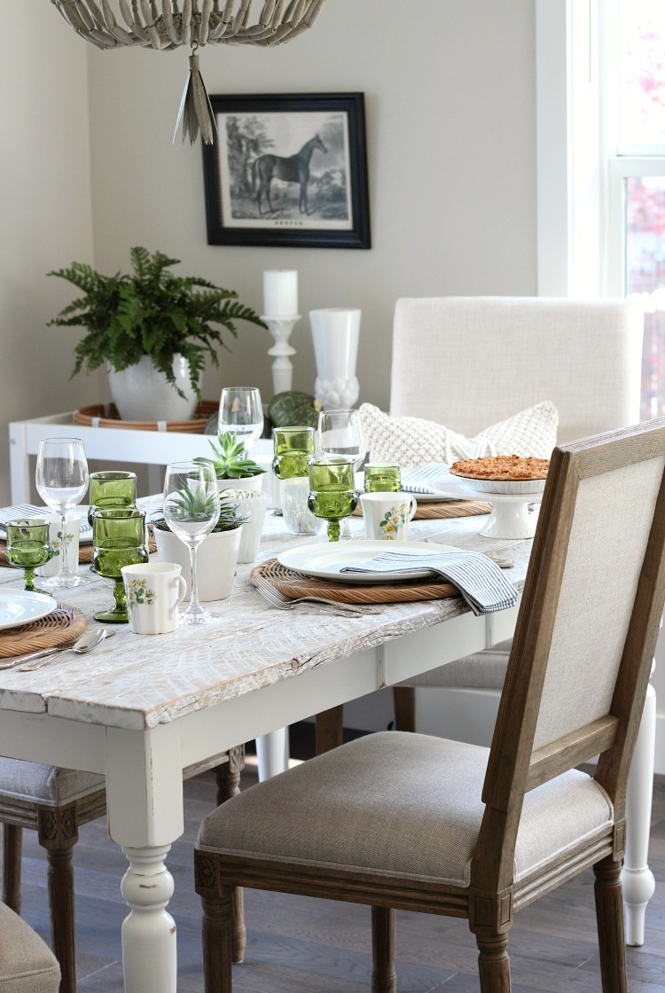 Eclectic Fall Tablescape with Vintage Green, Gold and White Decor - Rustic White Farmhouse Table with Linen Chairs - Satori Design for Living
