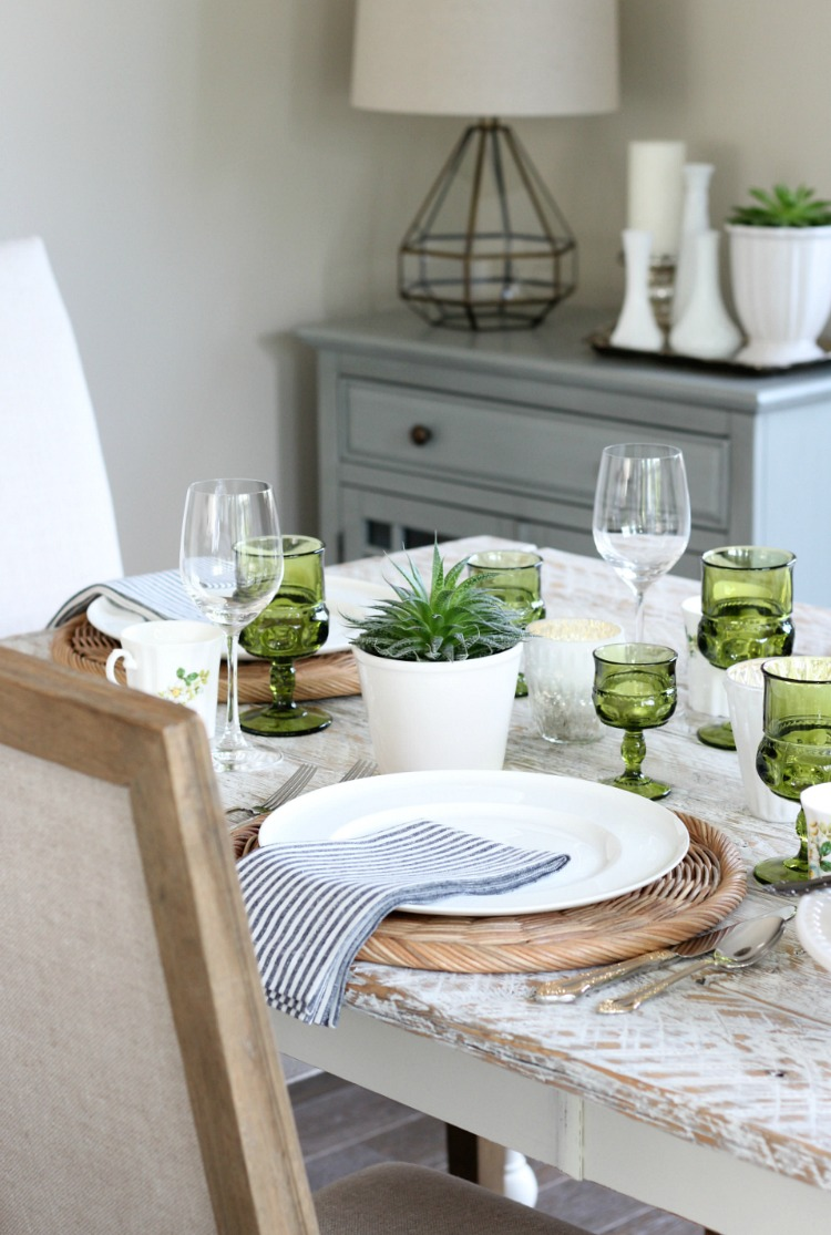 Eclectic Fall Tablescape Decorated in Vintage Green Glassware, Gold Flatware and White Decor - Satori Design for Living