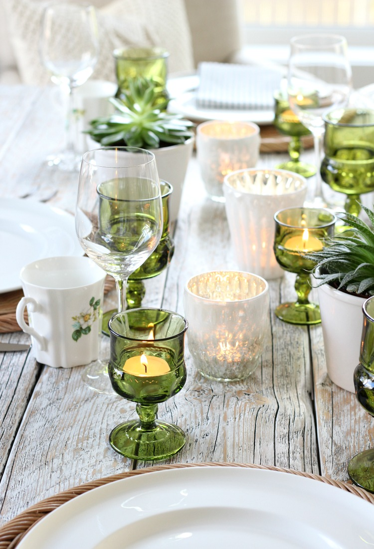 Eclectic Fall Tablescape with Vintage Green Glass Tea Light Holders and Mercury Glass Votives - Satori Design for Living