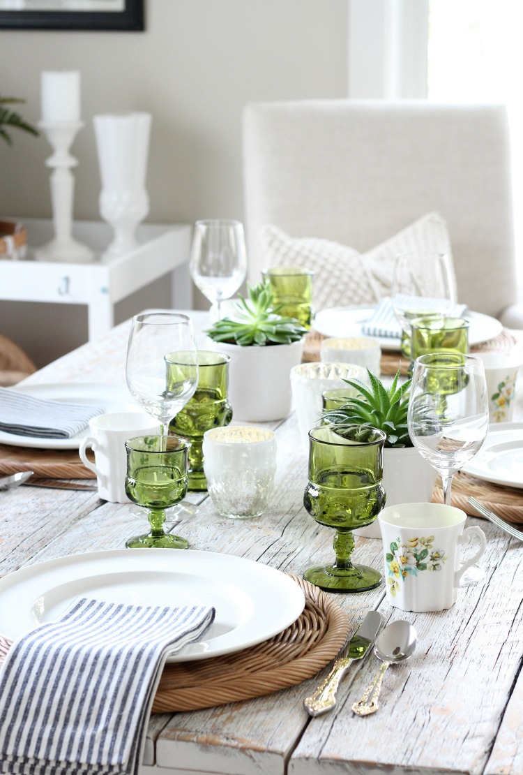 Eclectic Fall Tablescape with Vintage Green Glassware, Thrifted Floral Mugs, Pretty Gold Flatware and More Beautiful Decor