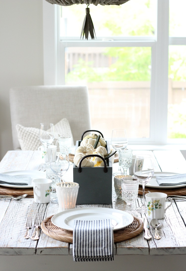 Fall Decorating Ideas - Grey and White Fall Tablescape with Pumpkin Centerpiece - Satori Design for Living