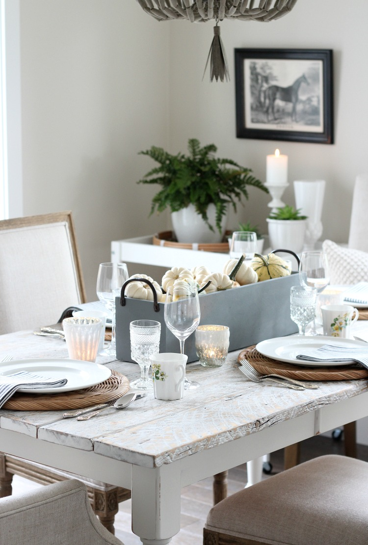 Fall Decorating Ideas - Neutral Table Setting with Faux Concrete Planter and Pumpkin Centerpiece - Satori Design for Living