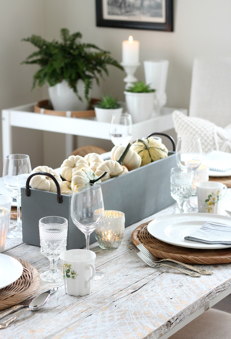 Neutral Fall Table Setting with Pumpkin and Gourd Table Centerpiece