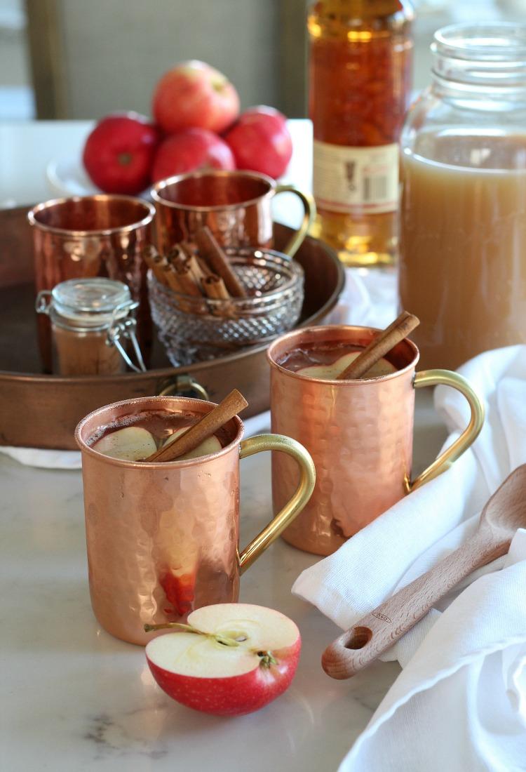 Spiked Apple Cider Fall Drink Served in Copper Mug