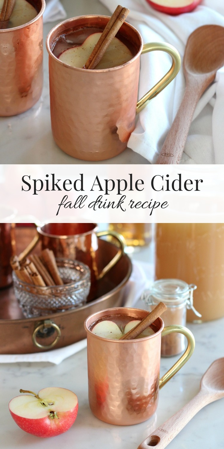 Spiked Apple Cider Fall Drink in Copper Mug with Apple Slice and Cinnamon Stick