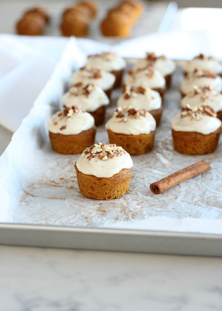 Mini Pumpkin Spice Cupcakes with Maple Cream Cheese Frosting and Pecan Topping - Fall Recipe by Satori Design for Living