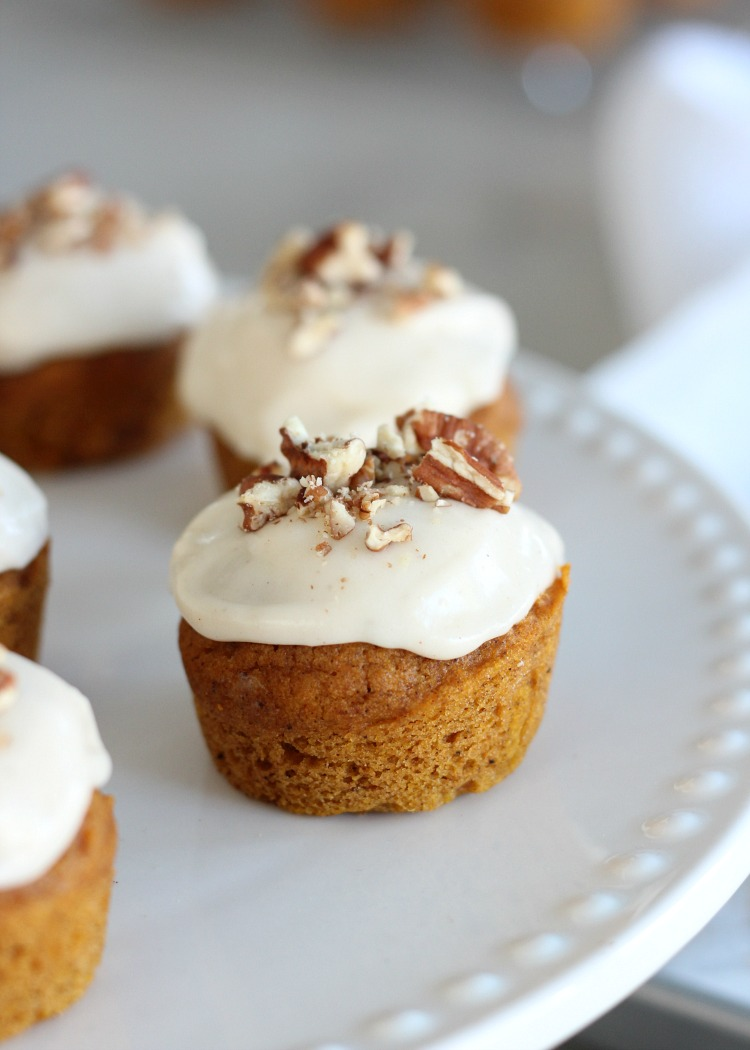 Mini Pumpkin Cupcakes with Maple Cream Cheese Frosting - Fall Dessert Recipe by Satori Design for Living