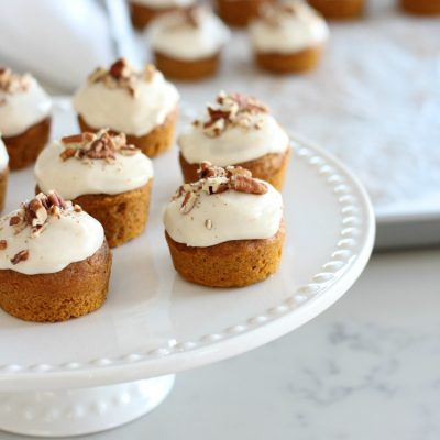 Mini Pumpkin Spice Cupcakes with Maple Cream Cheese Frosting and Toasted Pecans