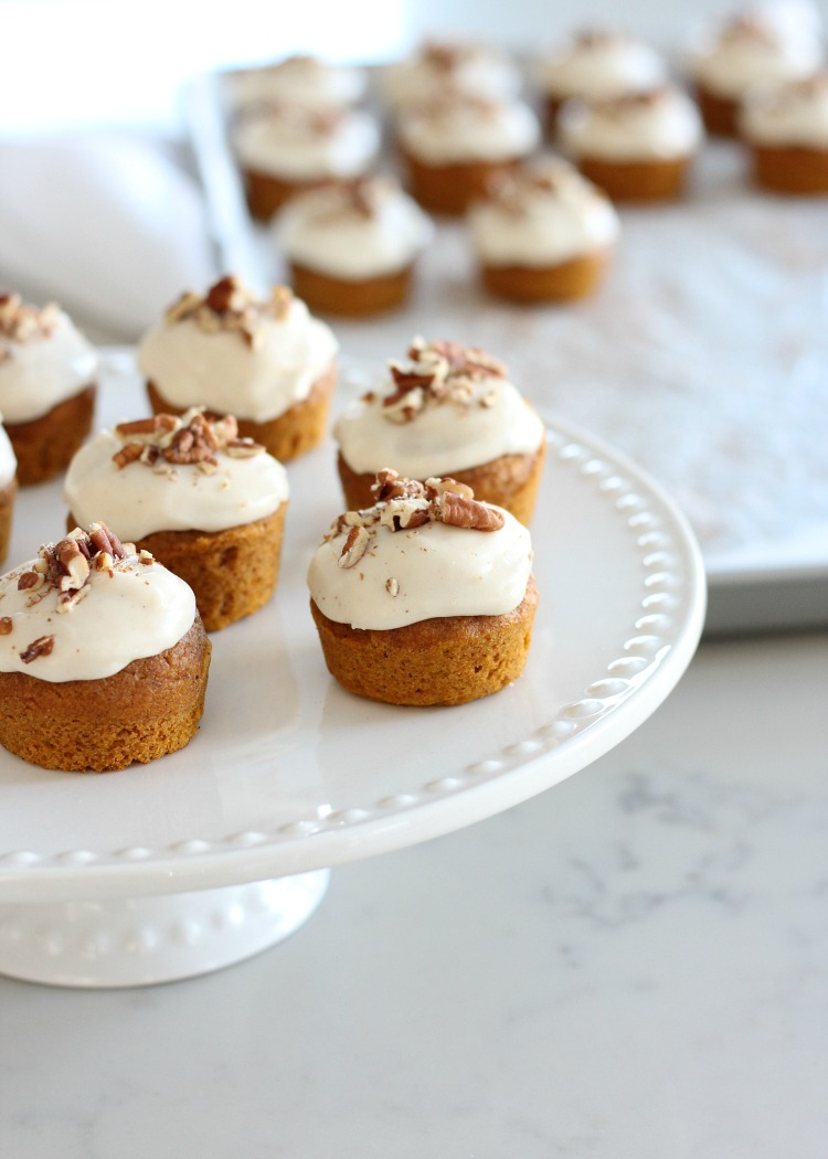 Mini Pumpkin Spice Cupcakes with Maple Cream Cheese Frosting on White Cake Plate by Satori Design for Living