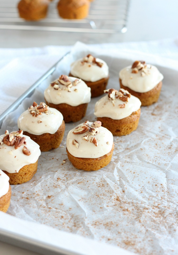 Mini Pumpkin Spice Cupcakes with Maple Cream Cheese Frosting and Toasted Pecans - Fall Cupcake Recipe by Satori Design for Living
