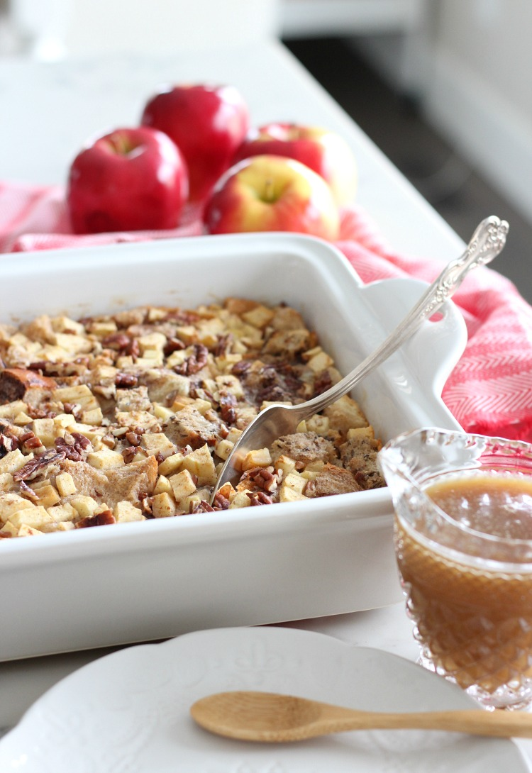 Apple Cinnamon Multigrain Bread Pudding with Salted Caramel Sauce - Satori Design for Living