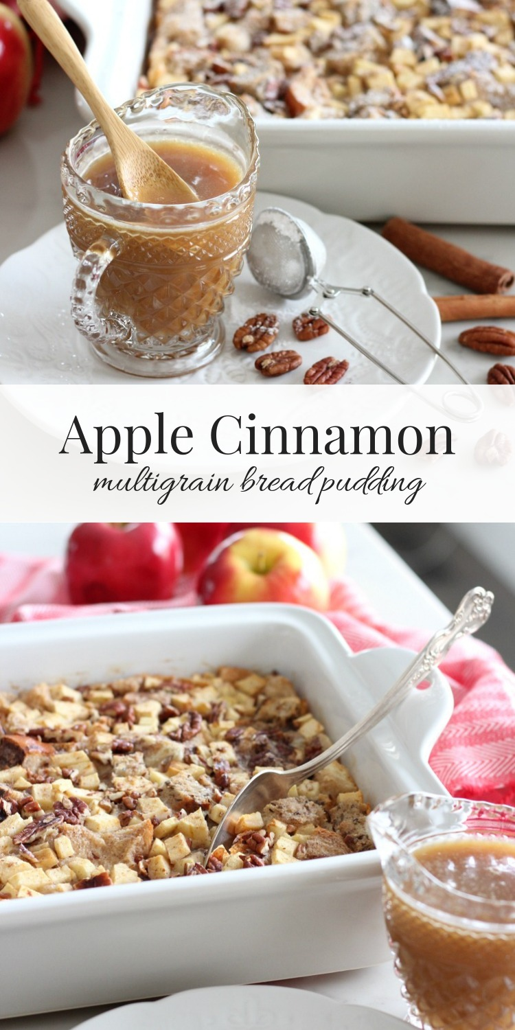 Apple Cinnamon Multigrain Bread Pudding is a fall recipe perfect for the holidays too. Delicious apples, hearty bread and cinnamon-infused custard make this dessert the ultimate comfort food.