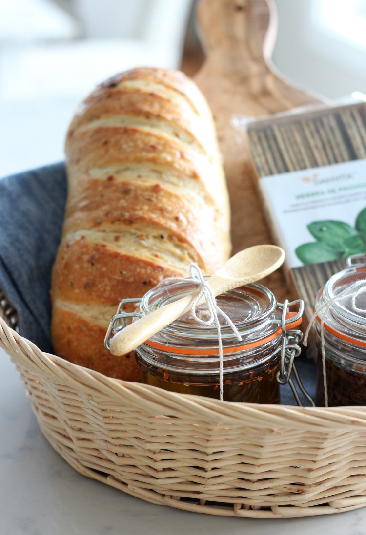 Chili and Garlic Olive Oil Holiday Gift Basket - DIY Handmade Gift Idea by Satori Design for Living