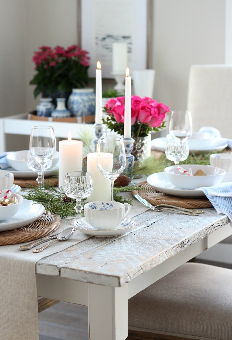Christmas Home Tour with Pink, Blue and Gold Decor - Holiday Table Setting Ideas - Satori Design for Living