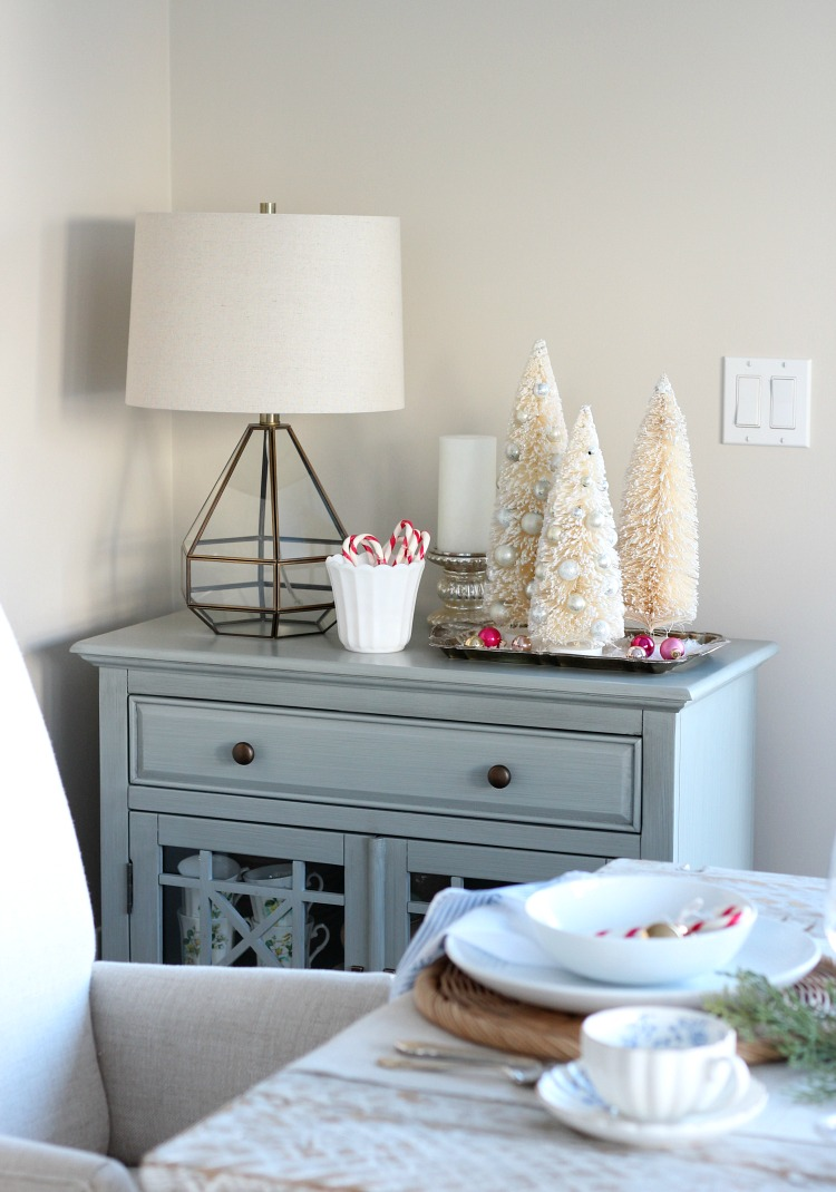 Christmas Home Tour - Dining Room with Bottle Brush Trees and Pink Decorations - Satori Design for Living