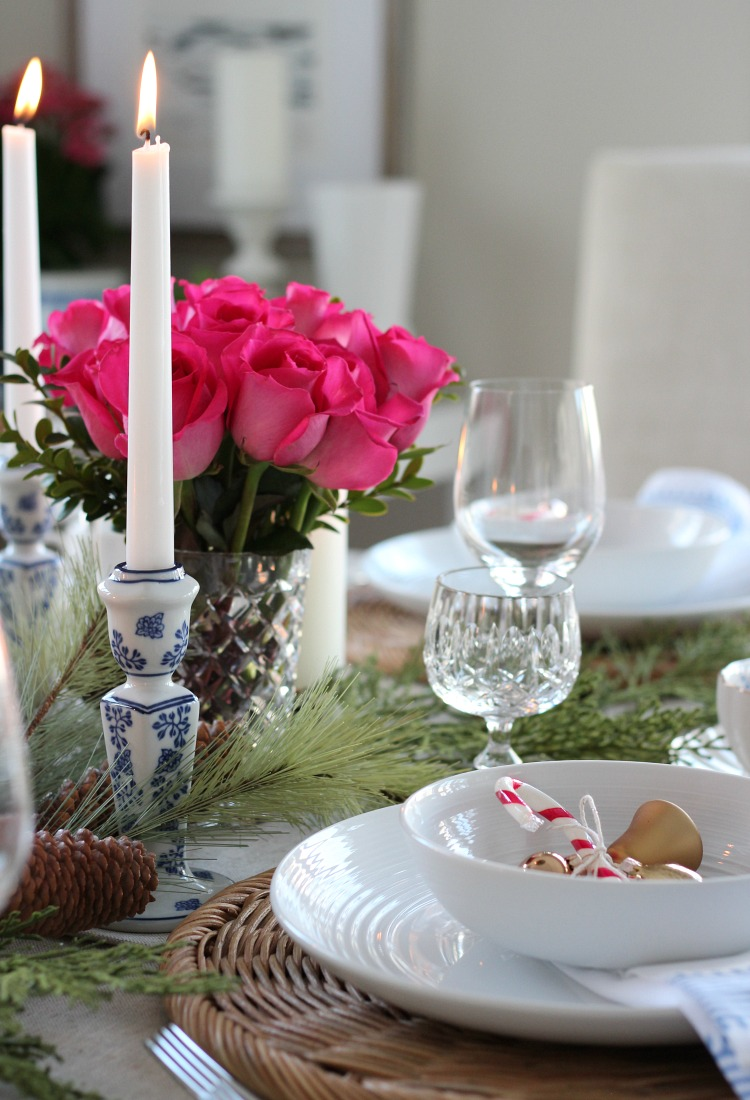 Christmas Home Tour with Bright Pink Table Setting Decor - Satori Design for Living